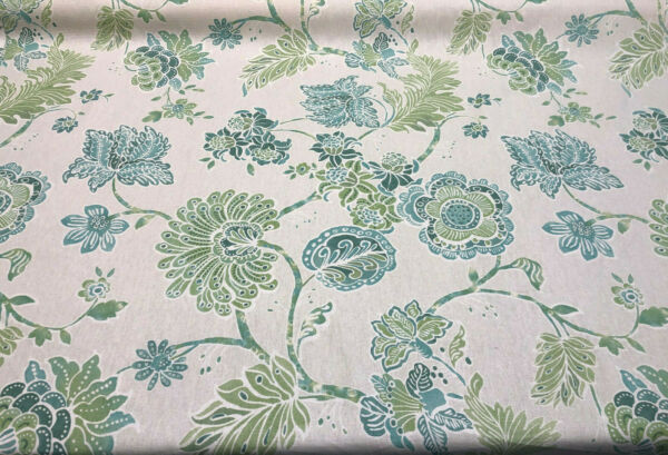 Richloom Teal Bloom Flowers Green Linen Drapery Upholstery Fabric by The Yard