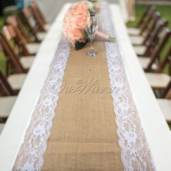 10× Burlap Jute Hessian Lace Table Runner Wedding Tablecloth Party Home Decor
