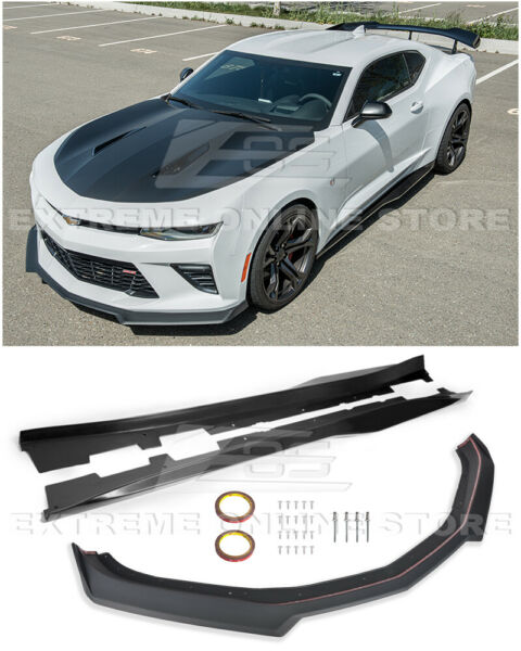 Refresh ZL1 Style Front Bumper Lip Splitter & Side Skirts For 16-Up Camaro SS