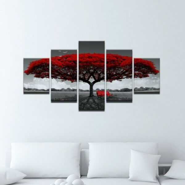 5Pcs Red Tree Modern Canvas Oil Painting Wall Art Home Picture Print Decor US