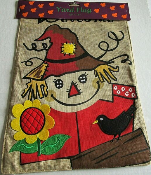 FALL YARD FLAG 12quot; x 18quot; WELCOME HAPPY SCARECROW Burlap Material