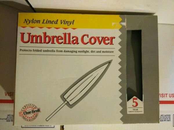 Char Broil 6 foot long Gray Outdoor Nylon Lined Vinyl Umbrella Cover NEW in Box
