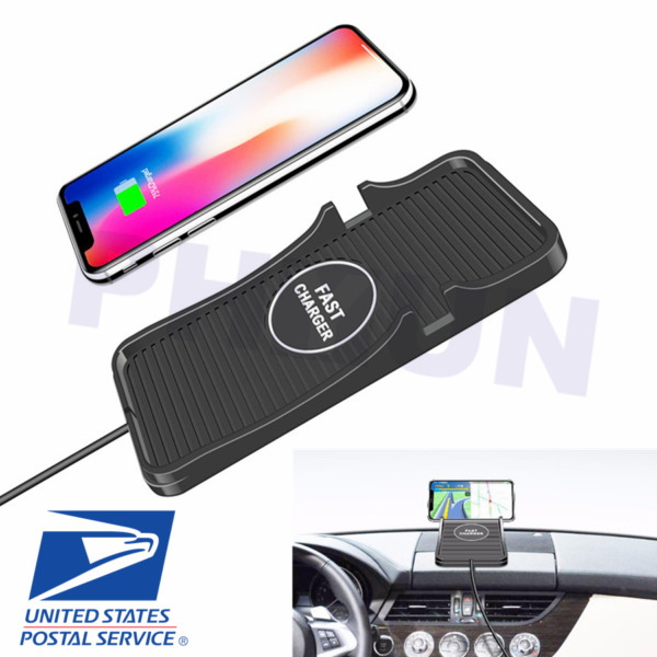 2in1 Wireless Car Charger Silicone Pad Smart Phone Dash Mount Stand Universal US