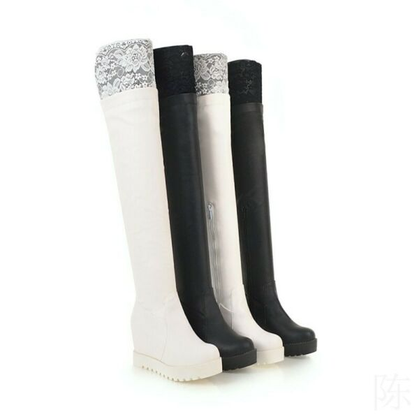Womens Lace Decor Zip Warm Winter Over The Knee Boots Fashion Riding Boots Shoes