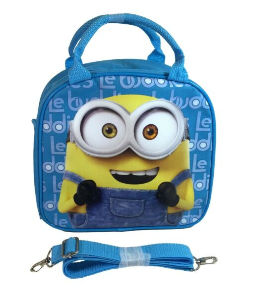 Universal Minions Insulated Lunch Bag with Shoulder Strap Color Pencils Blue
