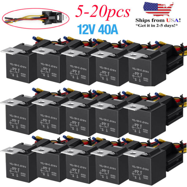 Lots 12V 30 40 Amp 5 Pin SPDT Automotive Relay with Wires amp; Harness Socket Set