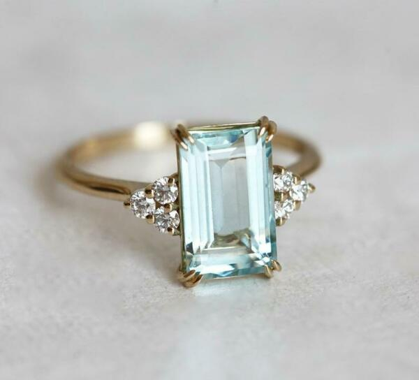 2 Ct Emerald Cut Aquamarine 14k Yellow Gold Over Solitaire Diamond Wedding Ring