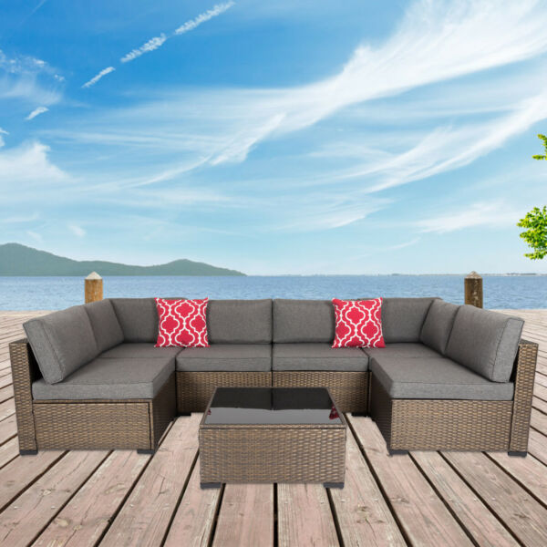 7PC Outdoor Furniture Couch Wicker Rattan Cushioned Sofa Sectional Set W Pillow $589.99