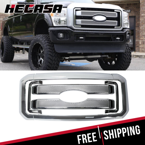 Front Mesh Grille For 2011-2016 Ford F250 F350 Super Duty Chrome Grill Covers
