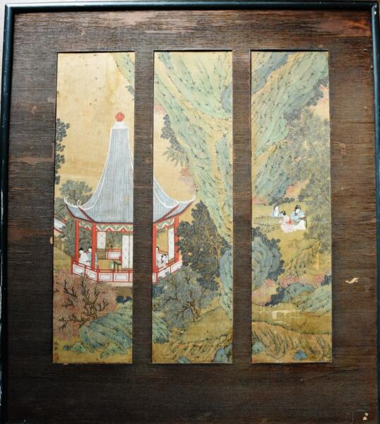 Chinese landscape painting on silk pavilion & ladies Chou Ying 仇英