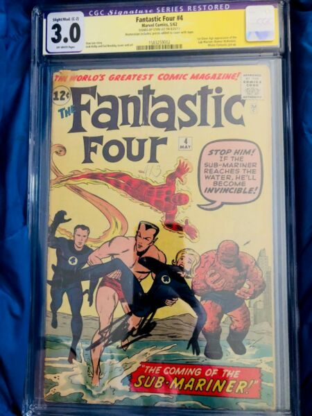 FANTASTIC FOUR #4 CGC 3.0  SIGNED STAN LEE first SUB-MARINER Super Key Book!