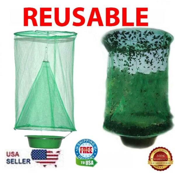 Fly Trap Ranch Reusable Catcher Killer Cage Net Pest Bug Catch Hanging Horse Fly $20.19