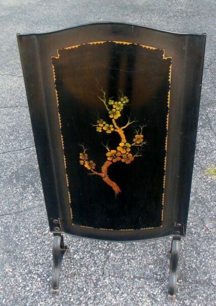 Vtg TOLE Metal Screen Hearth Fireplace CHINOISERIE Painted Art