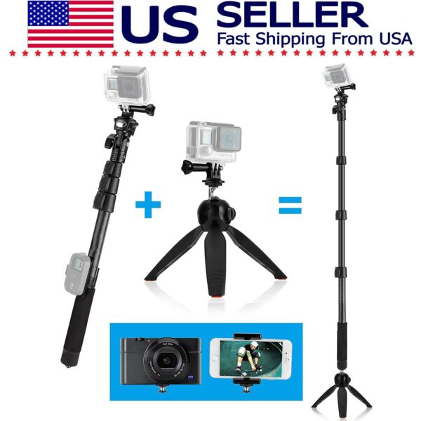 Telescopic Pole Selfie Stick Tripod MonoPod GoPro Hero DJI Camera Cell Phone