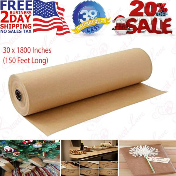 30 x 1800 Inches Brown Kraft Paper Roll Shipping Wrapping Cushioning Void Fill