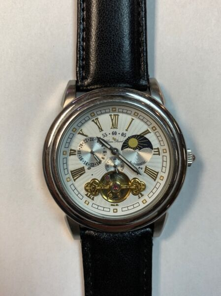 Lucien Piccard Open Heart Moon Automatic Skeleton Watch