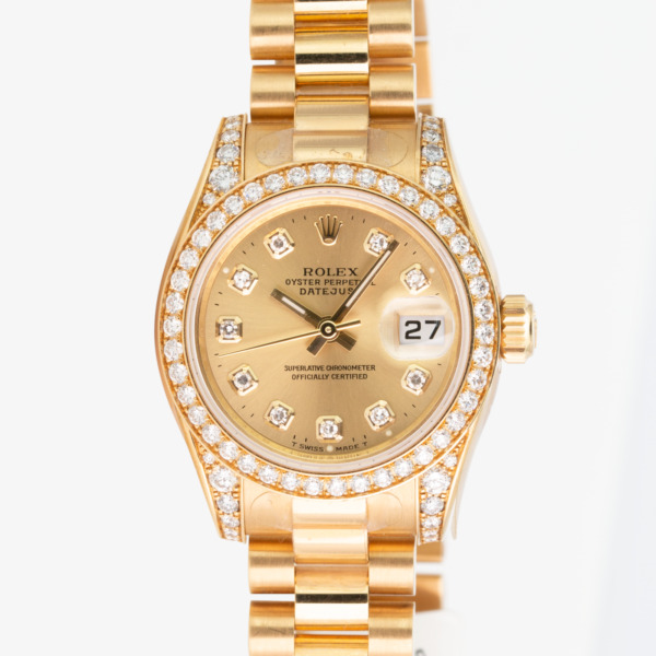 Rolex Lady Datejust 26mm 179158 Gold President 42 Diamond Bezel Champagne Dial