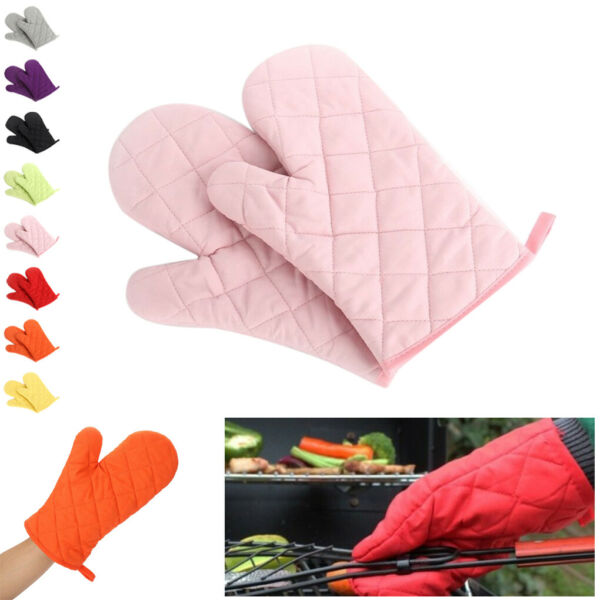 Pair of Oven Gloves Kitchen Cooking Pot Holder Thick Heat Resistant Mitt Mittens