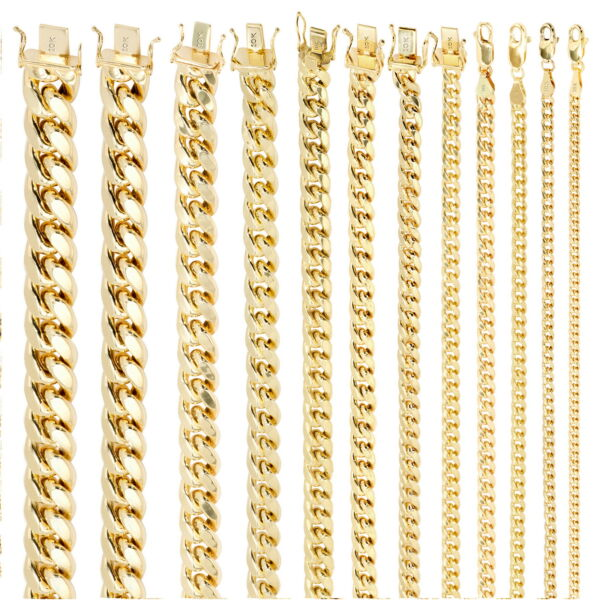 10K Yellow Gold Real 3.5mm-17mm Miami Cuban Link Chain Pendant Necklace 16