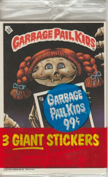 1986 GARBAGE PAIL KIDS UNOPENED PACK GIANT STICKERS 3 STICKERSCARDS PER PACK A
