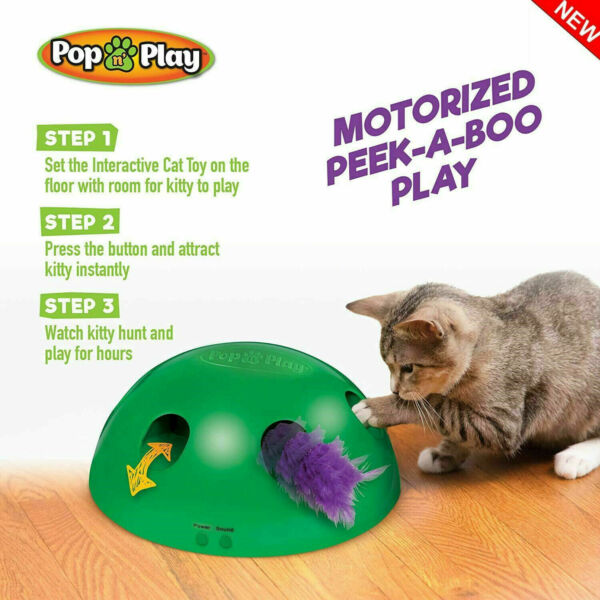 Pop N' Play Interactive Motion Cat Toy Automatic Mouse Tease Electronic Pet Toys