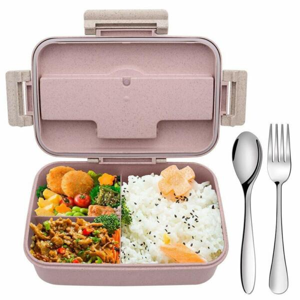 Bento Box for adults kidswith 3 Compartments Wheat Straw Leakproof Microwave Saf