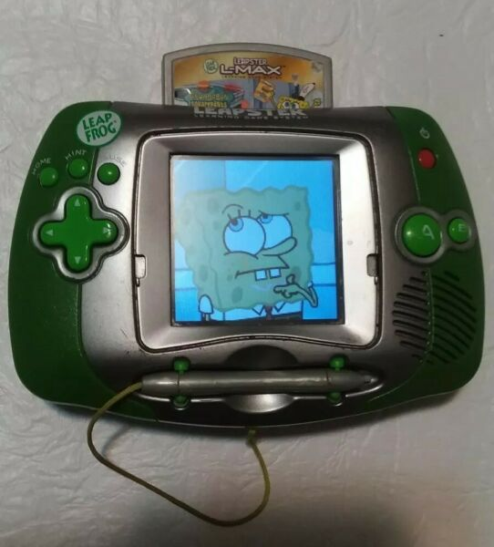 Leap Frog Leapster learning system Green with spongebob game. Works good