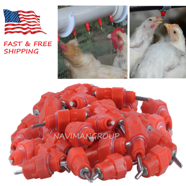 2550100 Pack Automatic Chicken Water Nipple Drinker Feeders Screw Style USA