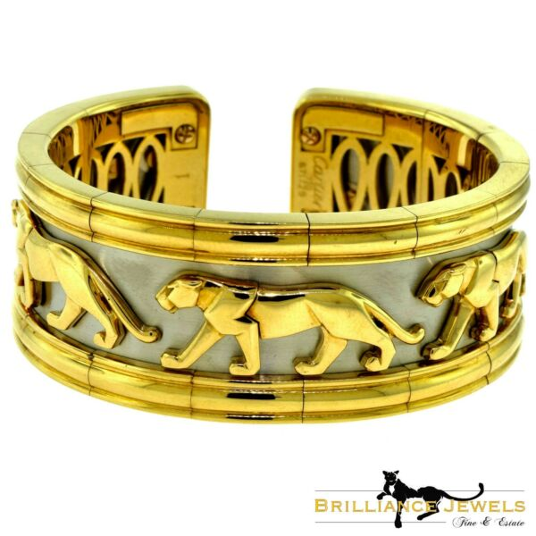 Estate Cartier Walking Panther Pharaon Yellow and White Gold Wide Flexible Cuff