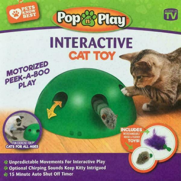 Automatic PopN' Play Interactive Motion Cat Toy Mouse Tease Electronic Pet US