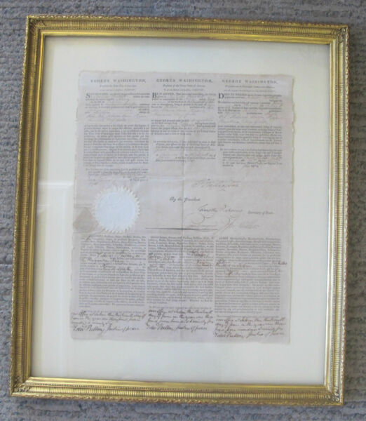 Signed GEORGE WASHINGTON 1796 Nicholas Bartlett Command of The NANCY Papers