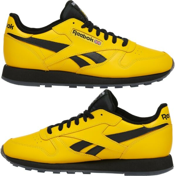 Reebok Classic Leather Yellow/Black Sneakers Men's Comfy  Rare Shoes
