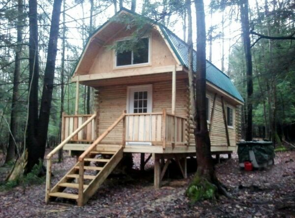 3.4 Acres NY Land 710 s.f. LOG CABIN #7 FINANCING NO RESERVE PA Woods Pines