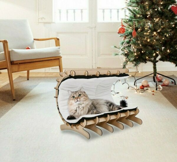 Cat Hammock Bed Sofa Pet House Wooden Frame Lazy Mat Cushion Lounge ,Hanging Toy $28.69