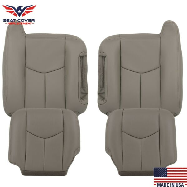 2003-2007 Chevy Tahoe Suburban Silverado & GMC Sierra Leather Seat Covers Gray