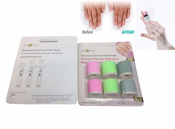 Replacement Rollers for Electric Nail Care System - Pack of 6 High Quality