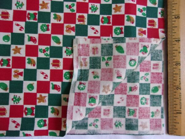 ChristmasBlocksSquares onCreamCotton Quilting Sewing Fabric -1 Yard
