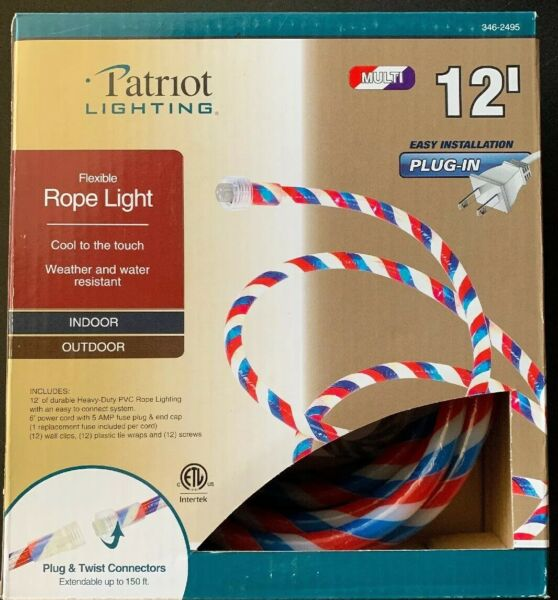12' Red White Blue Outdoor Flexible Rope Light Plug & Twist Connector + Hangers