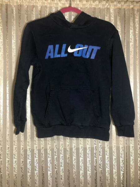 Nike Boys Navy Pull Over All Out Hoodie Size L