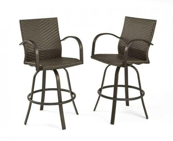 Outdoor Greatroom Leather Wicker Bar Stools NAPLES-4030-L
