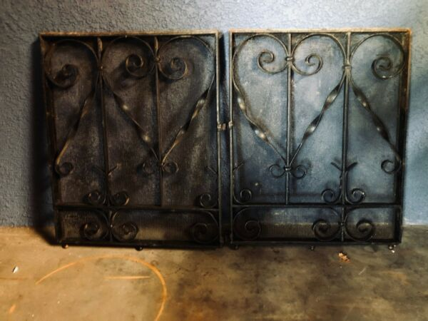 Ornate Antique Heavy Black Iron Fireplace Screens or Decorative Doors for Your G