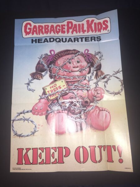 1986 Topps Garbage Pail Kids Poster #6 Headquarters Keep Out! Direct From Pack.
