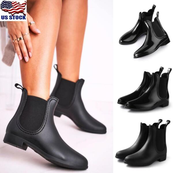 US Womens Wedge Heel Ankle Boots Ladies Casual Zipper Chelsea Boots Shoes Size