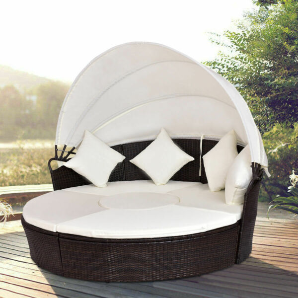 Outdoor Patio Canopy Cushioned Daybed Round Retractable Rattan Furniture Set $499.95