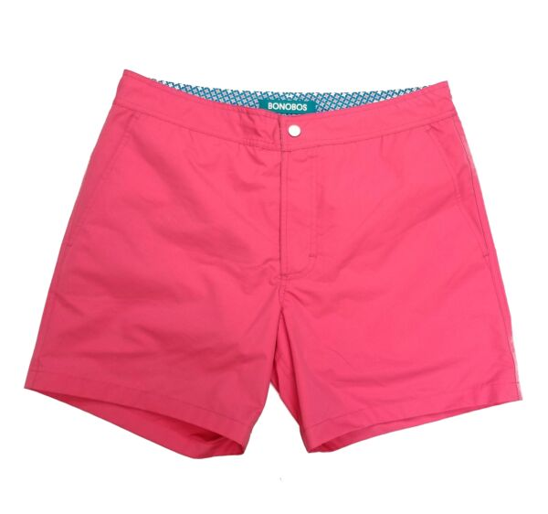 Mens Bonobos Swim Trunks Swimsuit size 33 5-in inseam pink solid blue