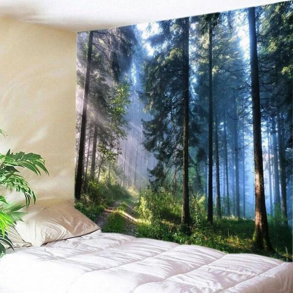 Forest Sunshine Tapestry Nature Tree Wall Hanging Bedspread Throw Home Decor US