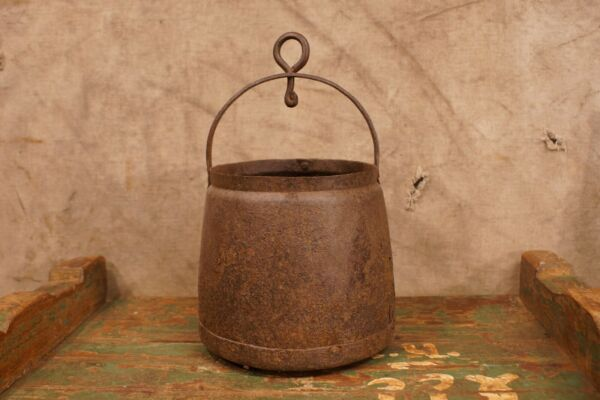 18th - 19th Century Wrought Iron Cooking Pan Fire Place Rustic Primitive
