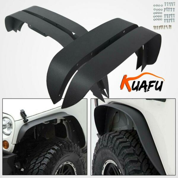 For 2007 2018 Jeep Wrangler JK 4PC Textured Black Steel Flat Style Fender Flares