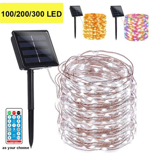 100 200 LED Solar Fairy String Light Copper Wire Outdoor Waterproof Garden Decor