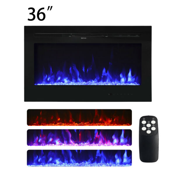 """36"""" x 21.5"""" Wall Mount Electric Fireplace Heater Multi-Color LED Flame with RC"""